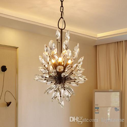 New design k9 crystal chandeliers light european american elegant creative country led ceiling pendant chandelier living room hotel bedroom nordic modern