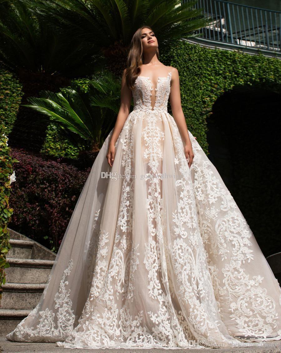 Blush Nude Shade Lace Ball Gown Wedding Dresses 2017 Milla Nova ...