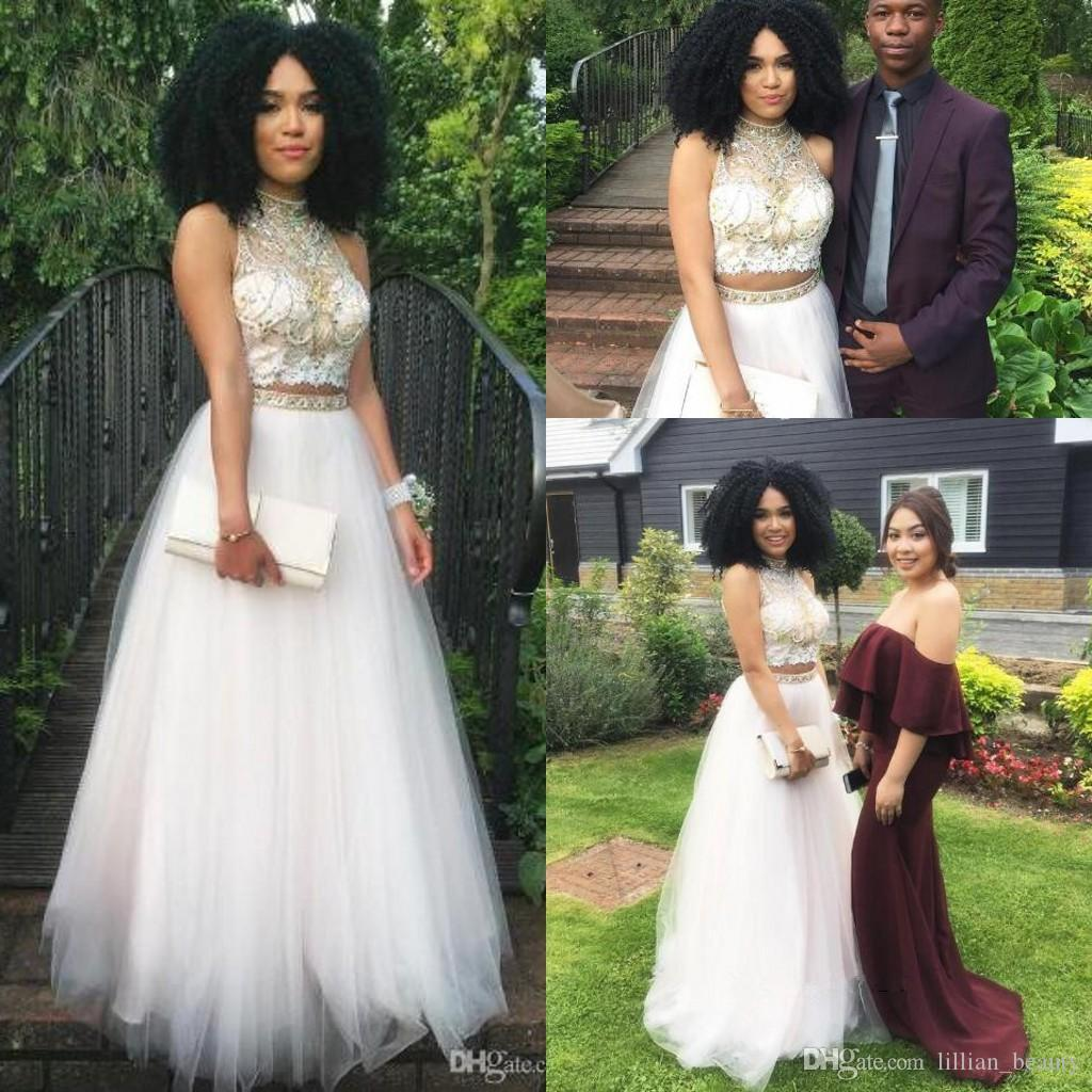 Two Piece Crop Top Rhinestone Prom Dresses Halter High Neck A Line ...