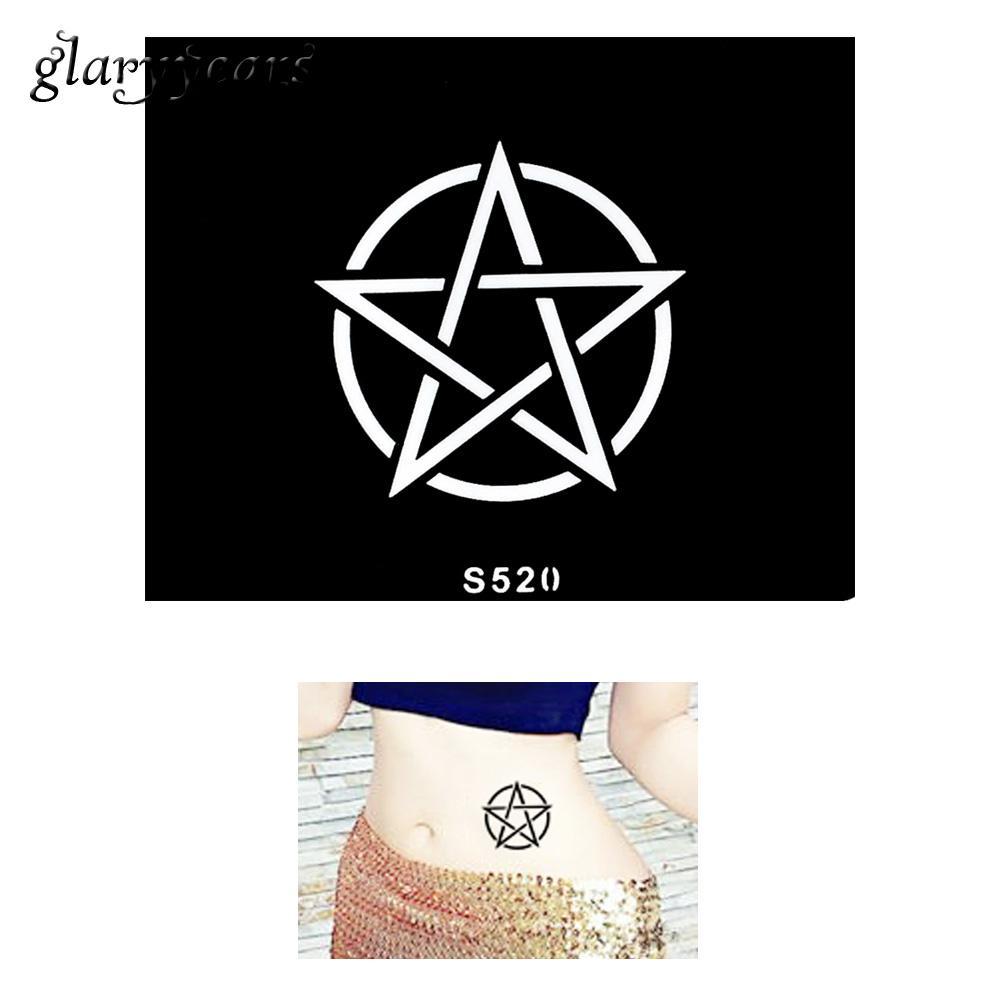 Wholesale Small Indian Henna Tattoo Stencil Pentagram Badge Design