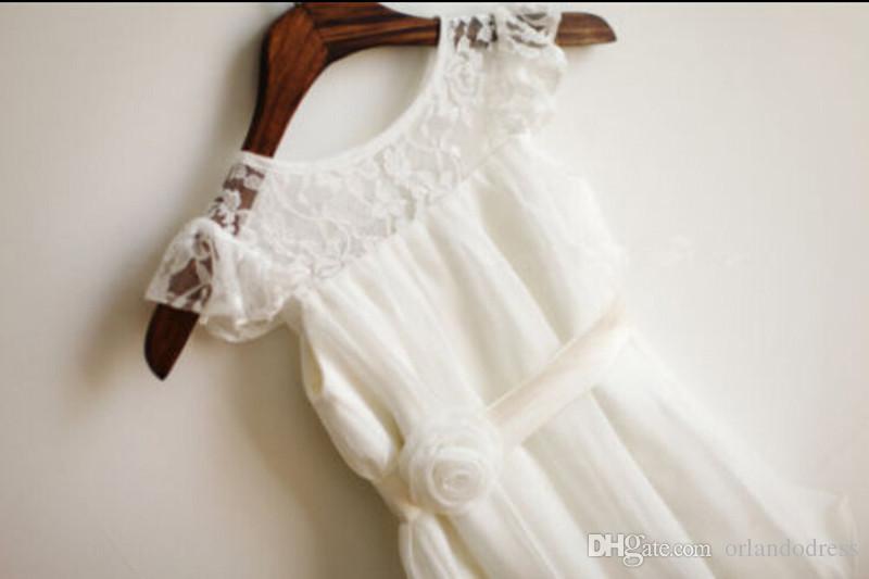 2017 nouvelles robes fille fleur Jupettes mancherons robe de soirée de mariage Communion Pageant robe pour les petites filles Robe Enfants / enfants