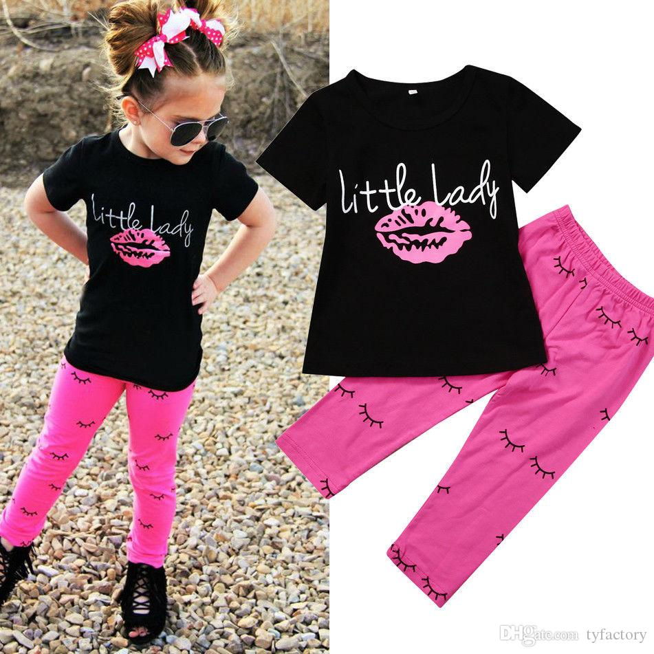 4b35bfeba629 2019 2017 Summer Toddler Infant Kid Baby Girls Outfits Black T Shirt ...