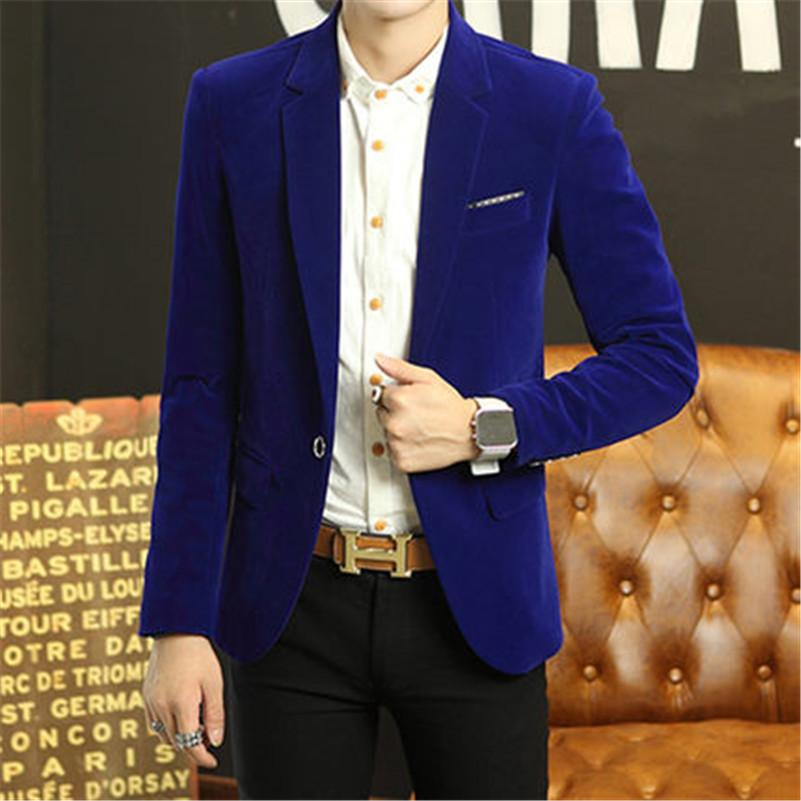 716c61ac603e8 2019 Wholesale Blue Velvet Blazer Men Blazer Masculino Men Blazer Designs  Mens Velvet Jacket Slim Fit Men Jacket From Odeletta