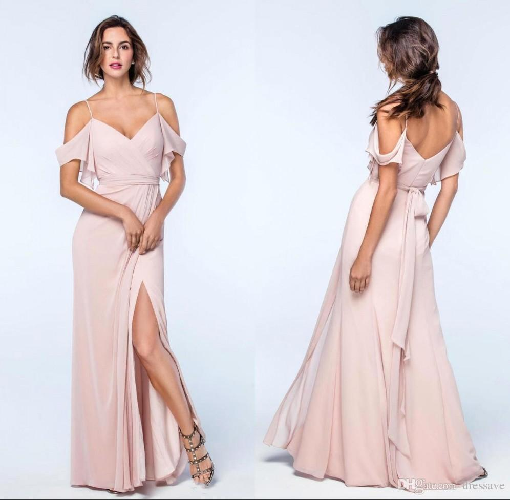 2018 blush pink side split long bridesmaid dresses ruched 2018 blush pink side split long bridesmaid dresses ruched spaghetti open back party bridesmaids prom dresses country bridesmaid dresses designer bridesmaid ombrellifo Choice Image
