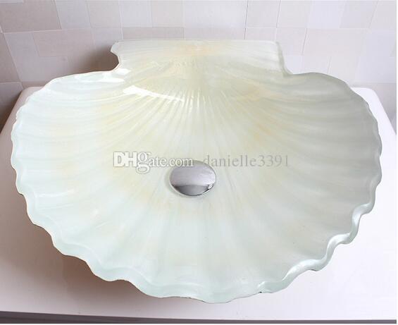 Tempered glass bathroom wash basin hot melt color shell shape art basin bathroom table basin