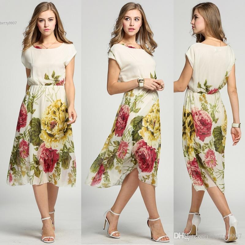 d71608967f Mulheres S Vestidos de Verão Boêmio Floral Roupas Havaiano Chiffon Elegante  plus size meninas flor de Manga Curta Meados de-Bezerro Desgaste da Praia