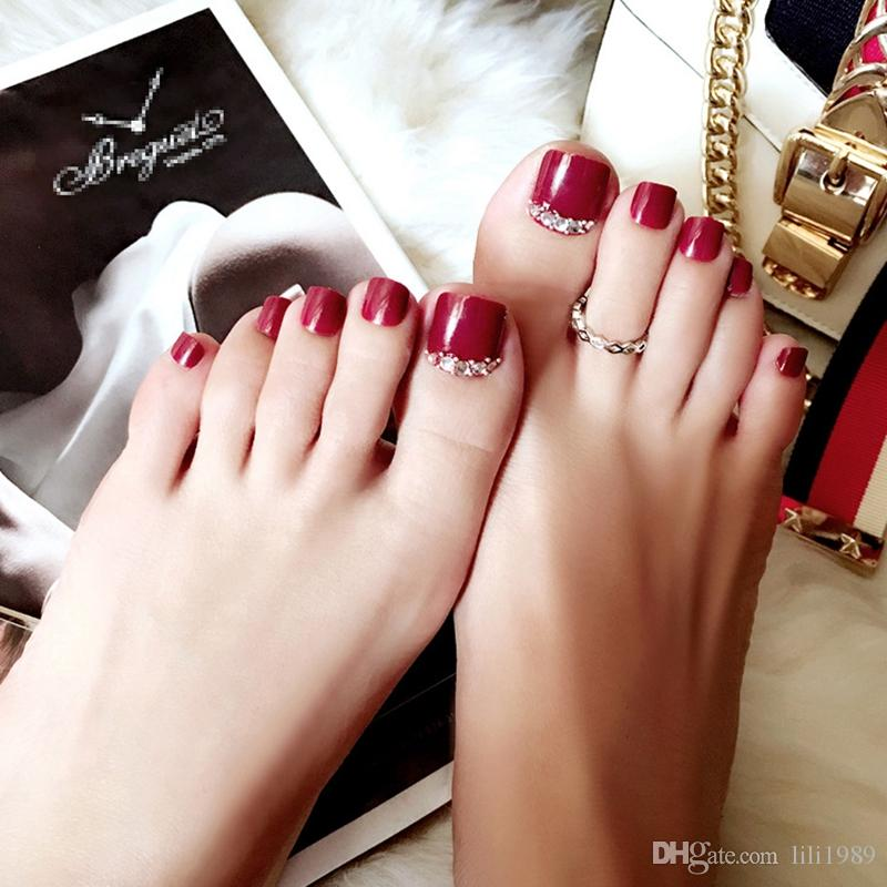 6 Optional Product 24pcs 1 Boxes Fake Nail Paste Wine Red Feet