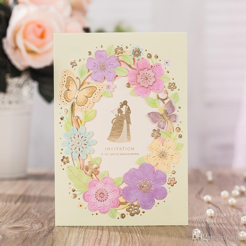 Wedding Invitations Cards Personalized Hollow Bride And Groom Wedding Invitations Cards With Floral Free Customized Printing