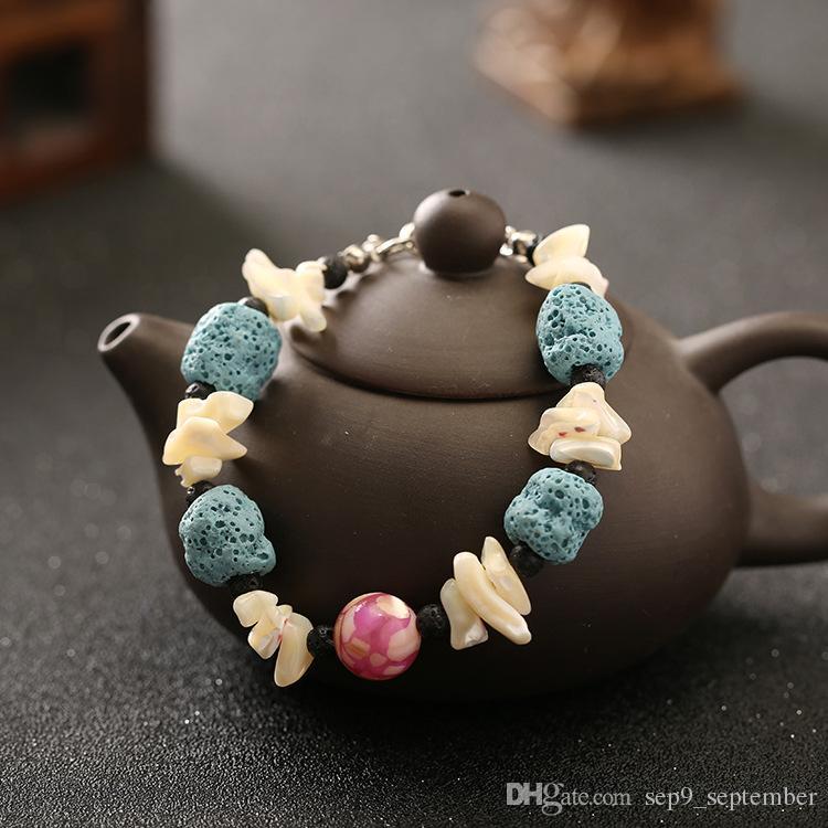 Lava Rock Naturel Perles Charms Bracelets Anti-fatigue Volcanique Charme Bracelets pour les Femmes Cadeaux Couleurs Perles Bracelets