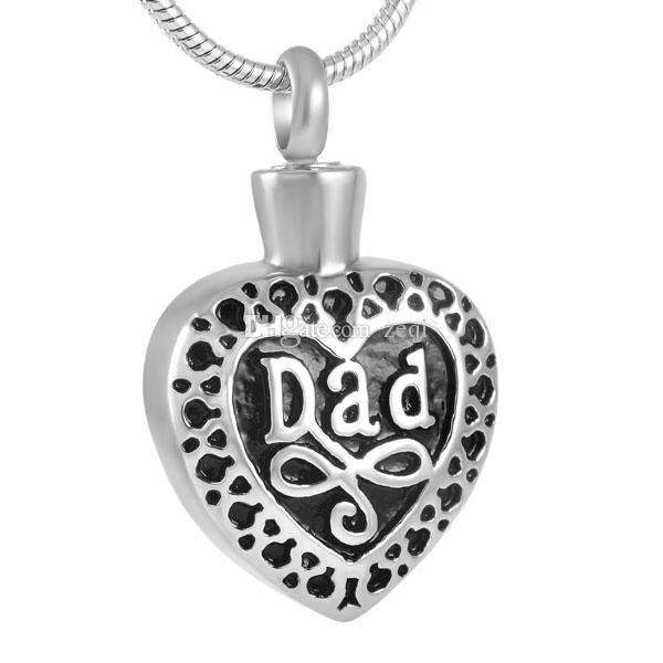 Collana con ciondolo cremazione cuore in acciaio inossidabile inciso a papà
