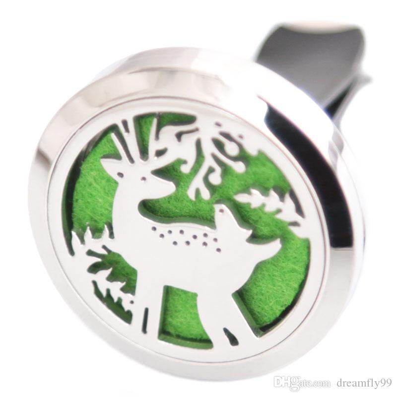 Рождественский олень 30 мм диффузор 316 нержавеющая сталь подвеска автомобиля аромат медальон эфирное масло автомобиля диффузор медальоны бесплатно 100 шт. колодки