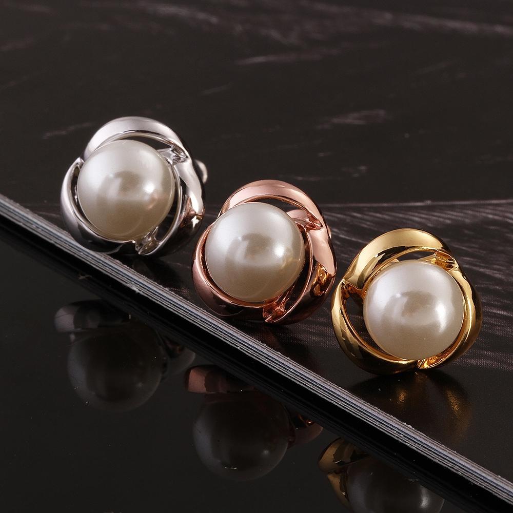 3 couleurs oreille perle stud platine or rose plaqué boucles d'oreilles  femmes filles perle oreille stud femme boucles d'oreilles