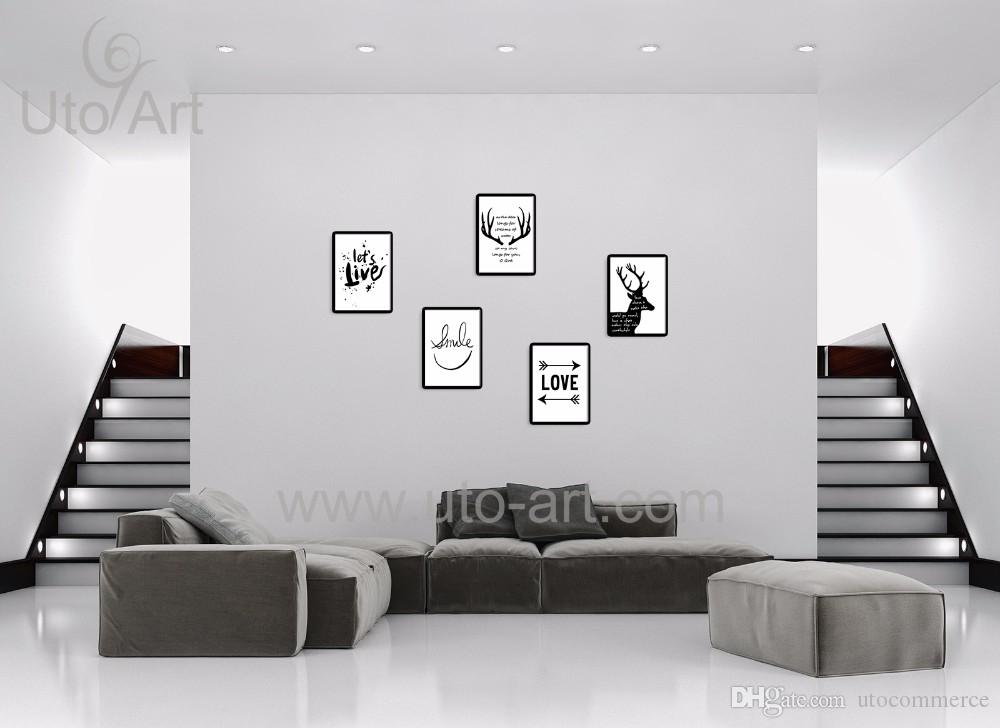 Guarantee Europe Wall Art Painting of Black and White Deer Animal Modular Pictures Giclee Prints on Canvas for Living Room