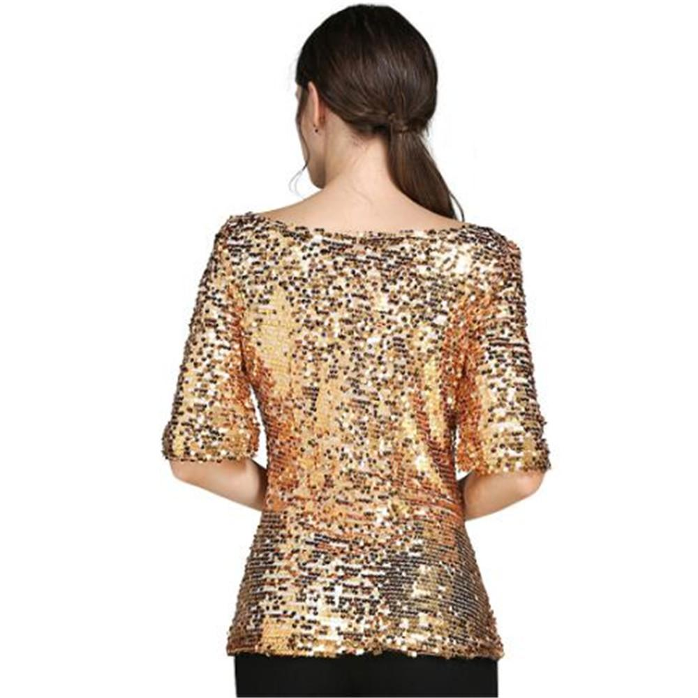 Hot Woman Club Dresses Lady Casual Tops Glitter Tank big round neck half sleeve shiny large size ladies t shirt ouc467