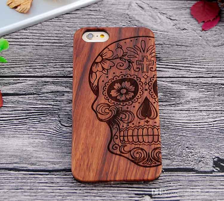 Custom Carving Wood Phone Case For Iphone 7 Cover Luxury Wooden Bamboo Cases For Iphone 6 6s 7 plus Samsung S7 S8 S6 edge S5