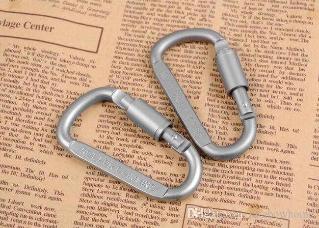 Outdoor in lega di alluminio D stili di arrampicata Button con la serratura Climbing pulsante moschettone antifurto appendere fibbia Gancio escursione di campeggio Snap clip DHL