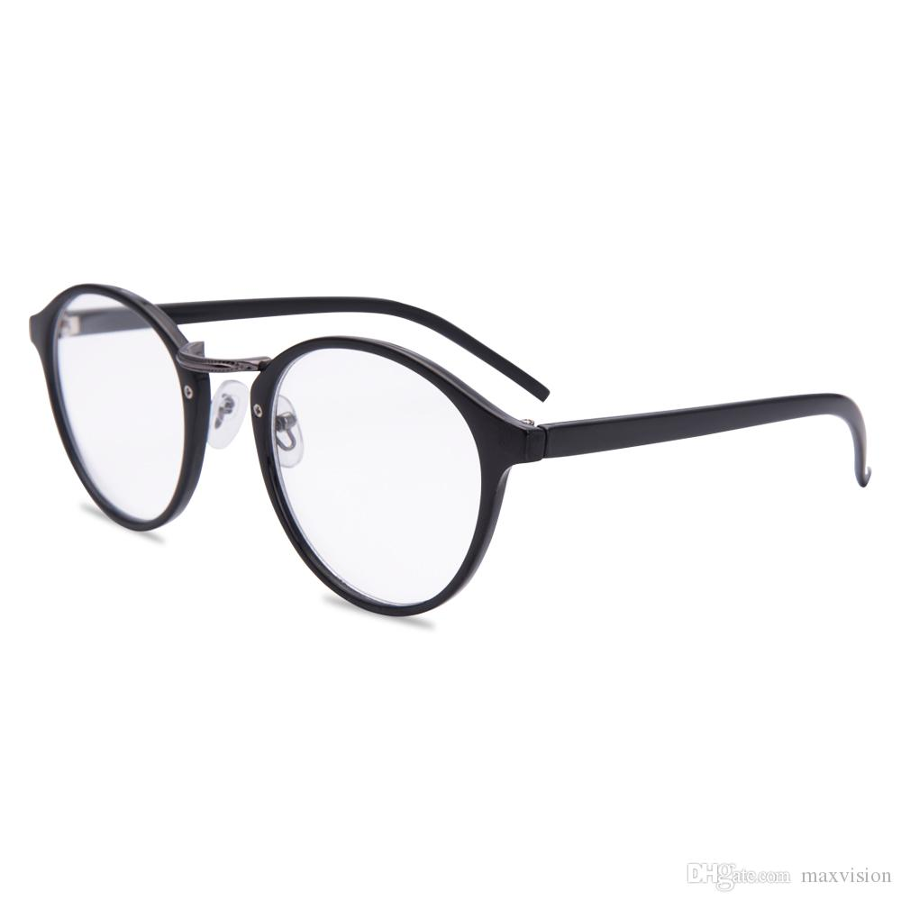 4032a208ac1 Round Frame Reading Glasses Unisex Spring Hinge Readers Stylish Men Women  Black Plastic Retro Style Affordable Reading Glasses Art Wear Reading  Glasses From ...