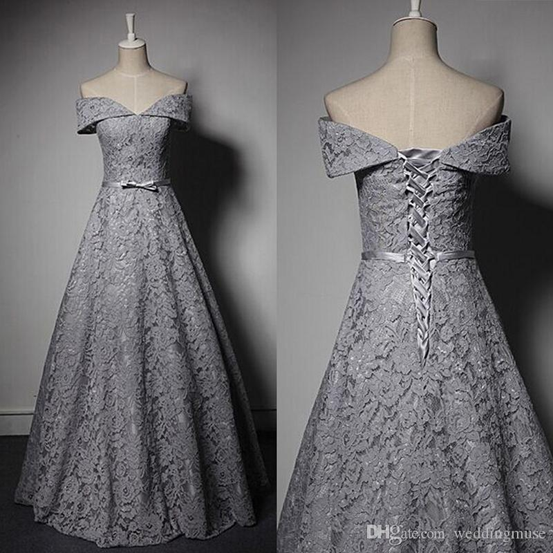 2018 Cheap Grey Lace Formal Evening Gowns Off Shoulder A Line Lace ...