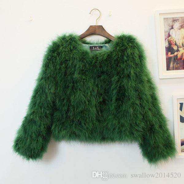 2017 moda Mulheres mangas compridas sexy avestruz turquia casaco de lã de peles de penas de penas casaco curto swagon vestuário em estoque