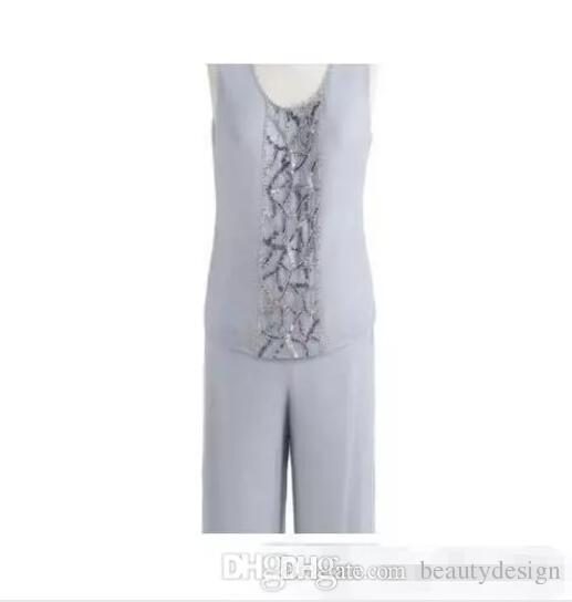 Sıcak Satış 2017 Anne Gelin Üç Parçalı Pantolon Suit şifon Plaj Düğün anneler Damat Elbise Uzun Kollu Boncuk Düğün Konuk Elbise