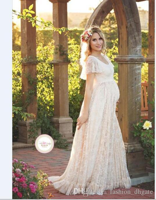 Hot Sale Lace Maternity Dresses For Pregnancy Woman Ruffles Petal ... edffb001e08f