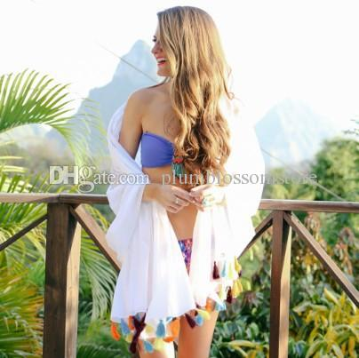 Beach bikini cover ups Colorful tassel Cardigan long blouses summer women cotton loose large sunscreen swimwear shirts holiday beachwear top