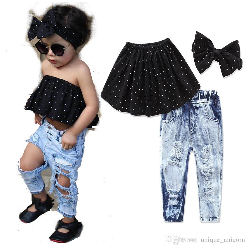 0d25cc6eaf72 2019 2017 European Fashion 1 8 Years Old Girls Summer Dot Off Shoulder Top+ Hole Denim Pants+Headband Sets From Unique unicorn
