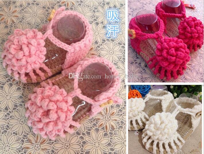 Crochet Baby Shoes First Walker Slipper Boots Newborn Flower Prewalker Shoes Baby Girls Boys Slippers Infant Toddler Knitted Sandals Shoes