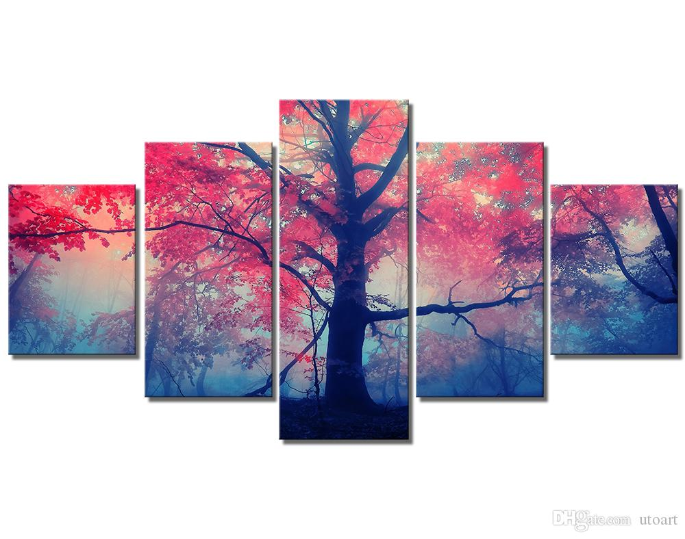 Wall decor canvas painting 5 piece canvas art pink forest landscape digital picture home pieces modular picture for bedroom dropship
