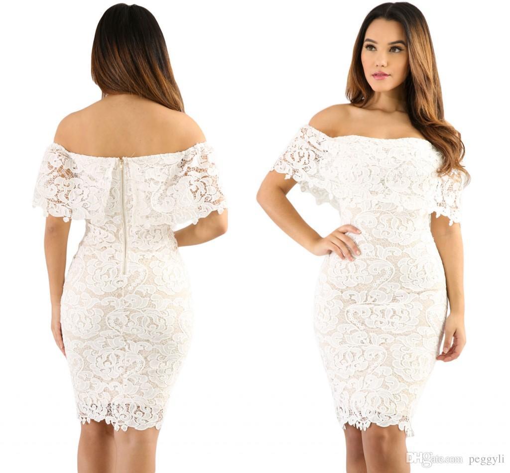 Großhandel Vintage Crochet Lace Off Schulter Bodycon Kleid Mit Beige ...