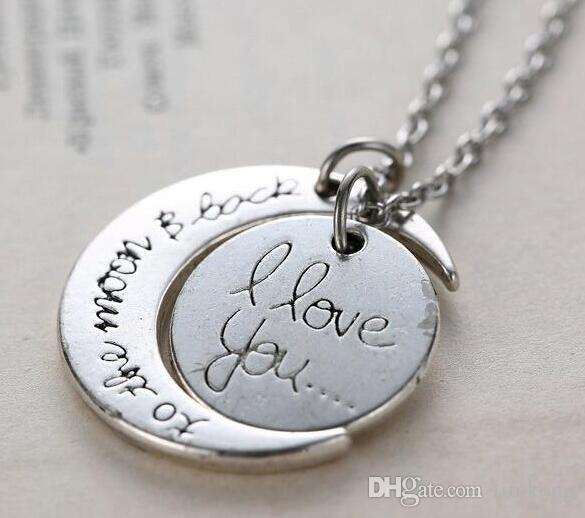 2018 Pendant Necklaces 7 Styles I Love You To The Moon and Back Necklace Lobster Clasp Hot Pendant Necklaces