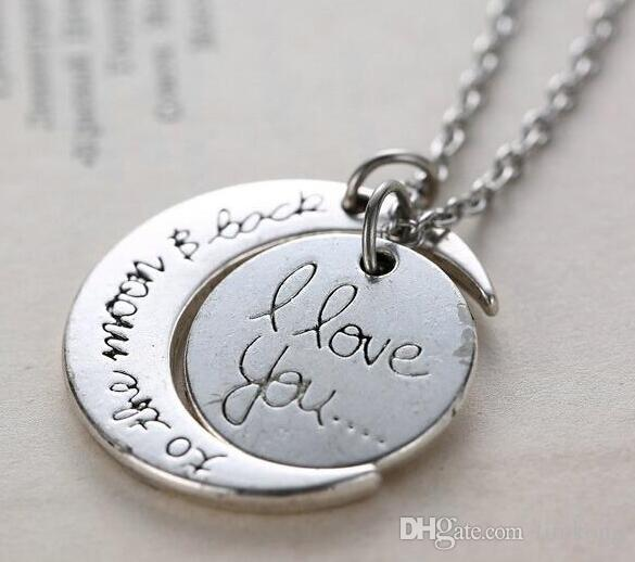 """Pendant Necklaces I Love You To The Moon and Back"""" Pendant Necklace Jewelry Mother's Day Gift Woman Fashion Chain Statement Necklace"""