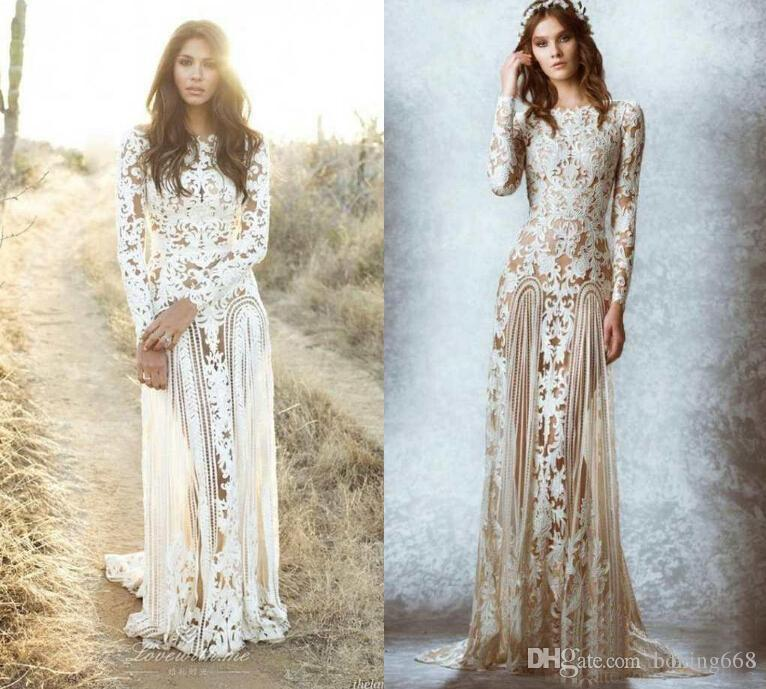 b96ca5000b76 2019 Zuhair Murad Lace Vintage Wedding Dresses Custom Made Long Sleeves  Court Train Beach Country Bridal Gowns Crew A Line Stunning Lace Vintage  Wedding ...
