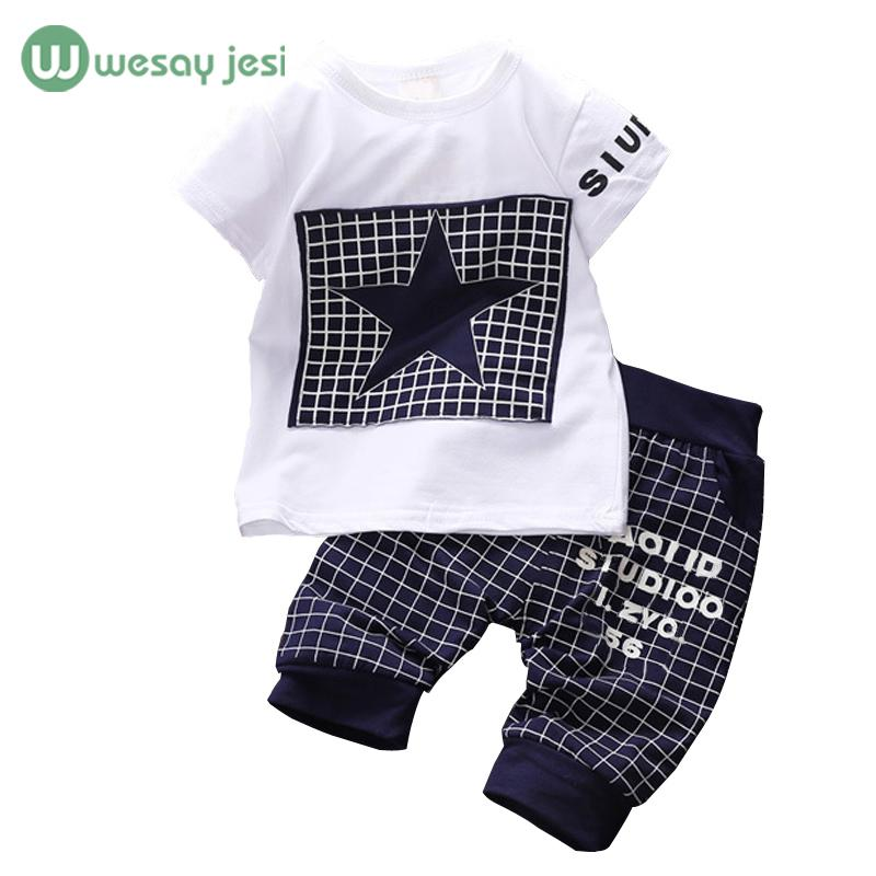 aadedb0e6de Acheter En Gros Bébé Garçon Vêtements 2017 Marque Été Enfants Vêtements  Ensembles T Shirt + Pantalon Costume Vêtements Ensemble Star Imprimé  Vêtements ...