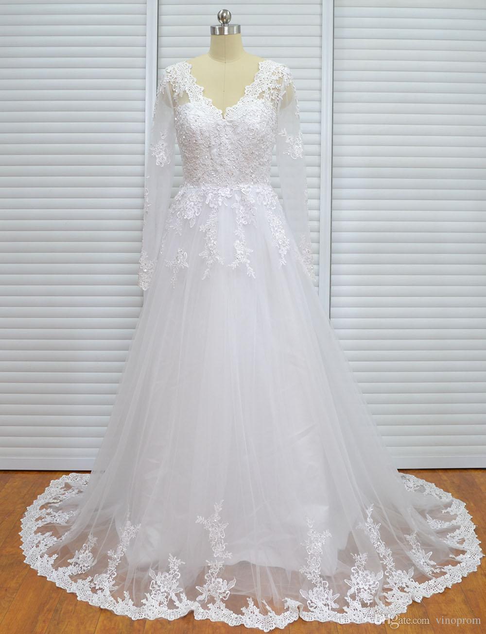 Vinoprom Real Photo Ball Gown Sweep treno con scollo a V in rilievo maniche lunghe pizzo sposa elegante abito da sposa 2018