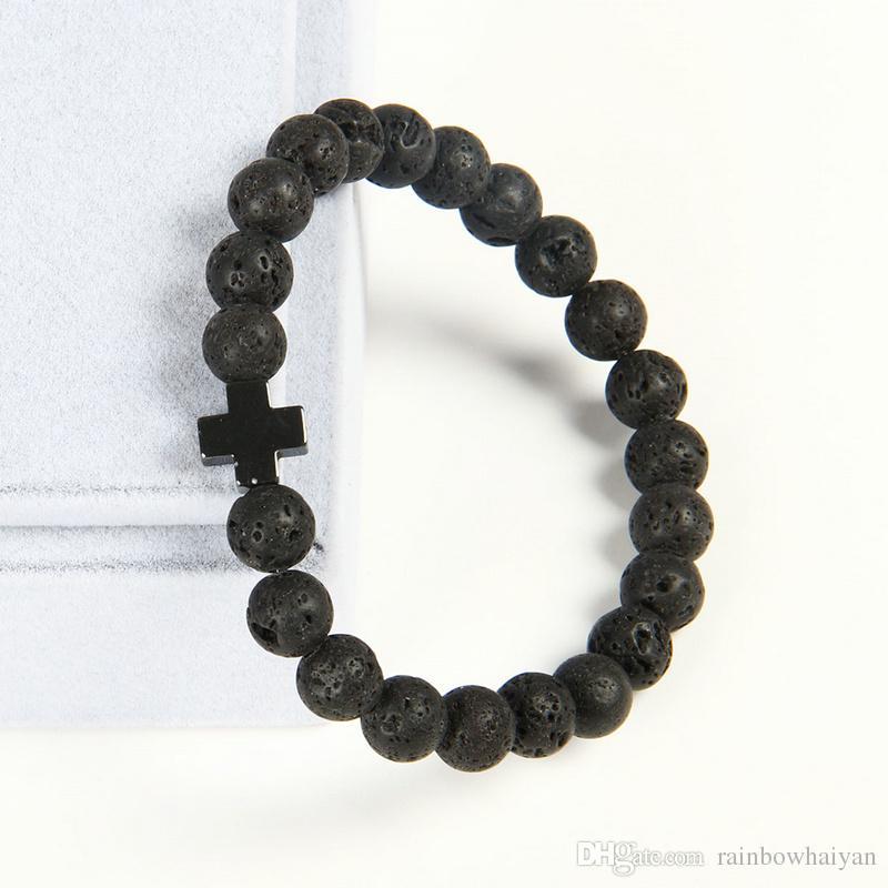 Neue Design Armband Großhandel 10 teile / los 8mm Beste Qualität Lava Stein Perlen mit Hämatit Royal Cross Jesus Armbänder