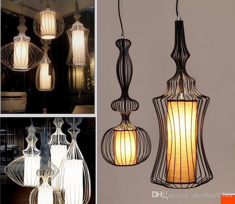 Siyah Beyaz Ferforje Kolye Işıkları yaratıcı vintage birdcage dekorasyon restoran lamba yatak odası fuaye kolye lambaları