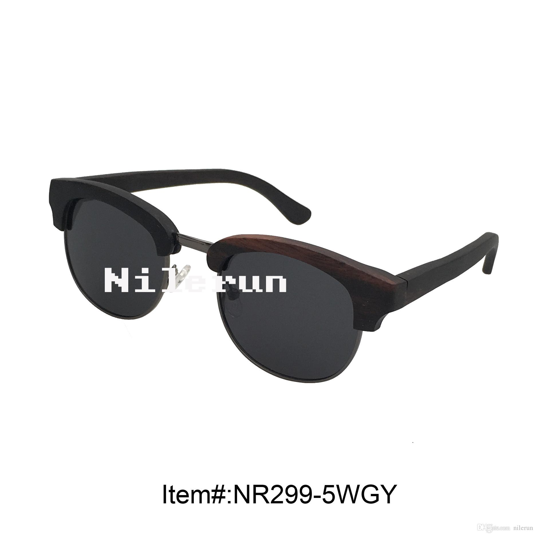 Old Fashion Black Polarized Lens Metal Ebony Wood Frame Sunglasses ...