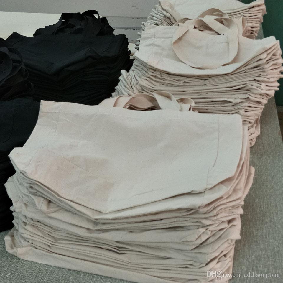8 once tela di cotone puro tela shopping bag tote bag in bianco stampa personalizzata nero / bianco / cotone naturale colore 12 * 15 * 4in nave libera da DHL