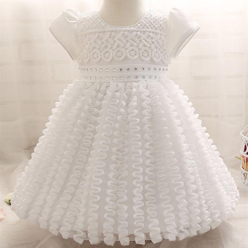 2018 Wholesale Summer Baby Girl 1 Year Birthday Dress Cute White Bow