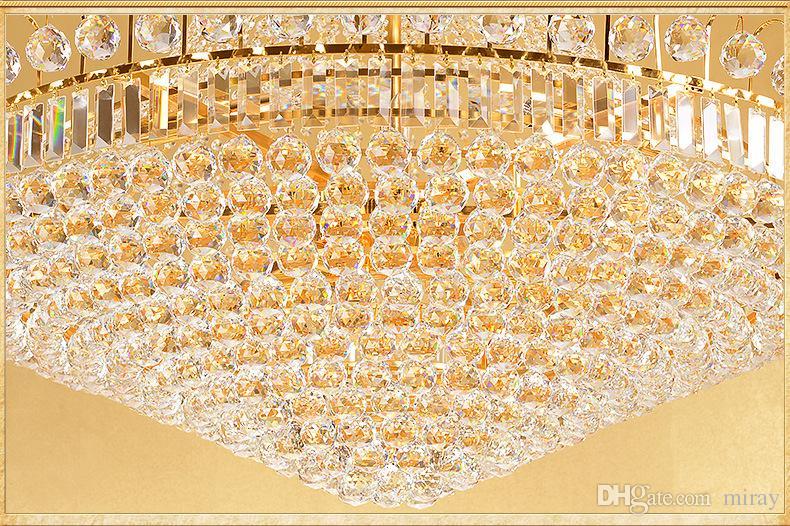 Doble planta araña hotel lobby lámpara de cristal villa salón Golden Crystal Chandelier araña lámpara de decoración de interiores