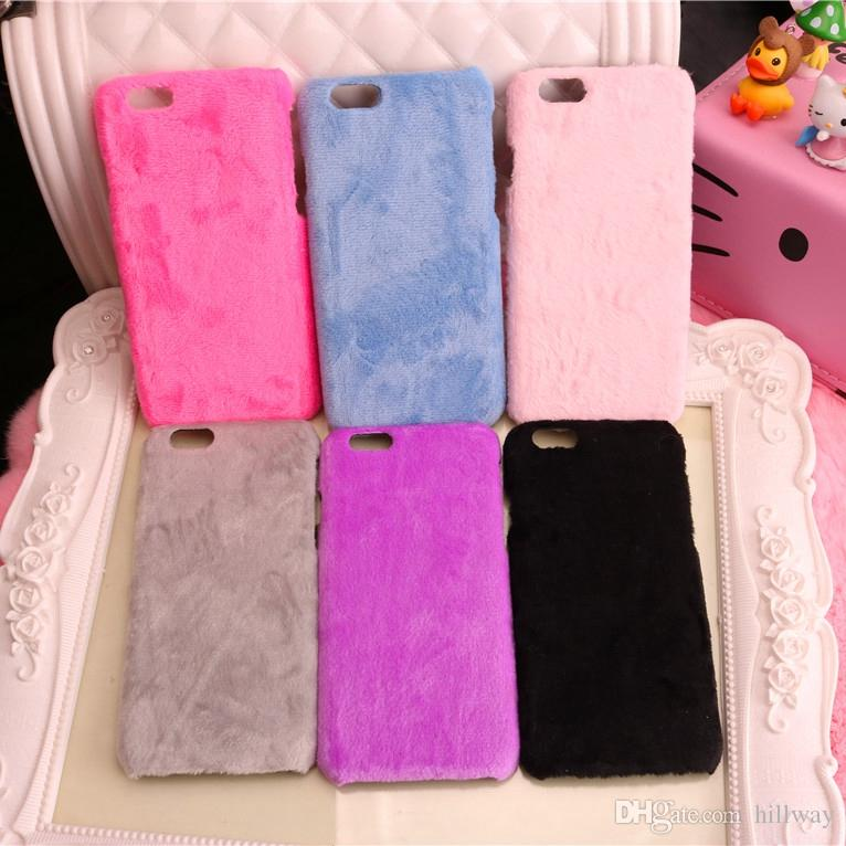 Simply Fashion Soft Velvet Warm phone cases for iphone 6 6s 6 plus 7 7plus 8 plus X 10 coverring Hard back cover hot pink