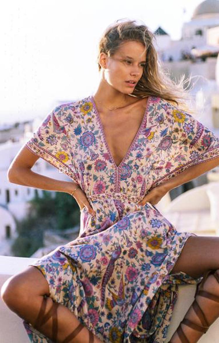 Maxi Boho abito uccello stampa floreale estate profondo scollo a V nappa manica a pipistrello grandi donne altalena Maxi abiti abiti da spiaggia bohemien lunghi