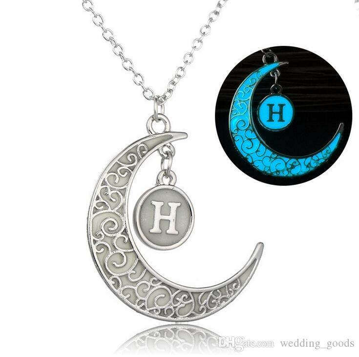 Best gift 26 English letters DIY necklace creative hollow moon luminous pendant WFN112 with chain a