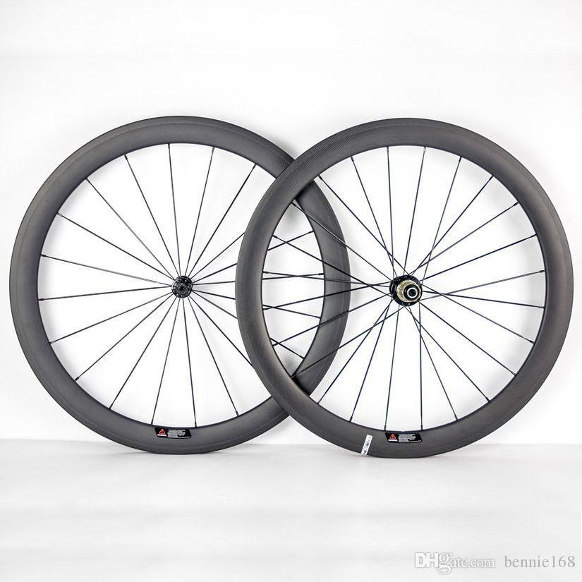 700C 50mm Depth 23mm Width Full Carbon Bike Wheels Clincher Tubular Bicycle Wheelset With Powerway R36 Hubs Black 20/24 Spokes And Nipples