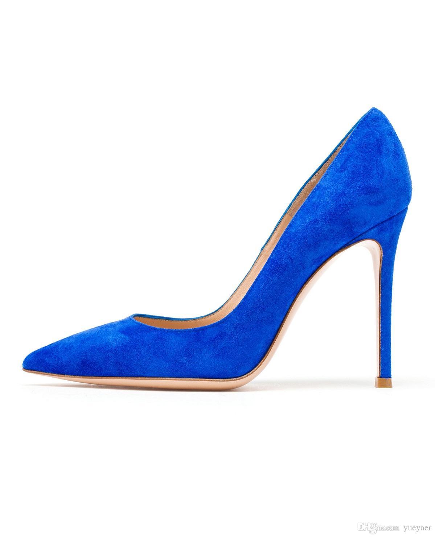 Zandina Dames À La Main De Mode Élégant 100mm Pointu Basique Bureau Parti Prom High Heel Pumps Chaussures Bleu Z71018