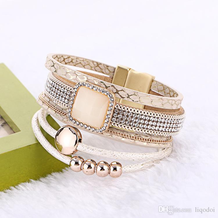 2017 nuovi braccialetti di cuoio magnetici a più strati del Rhinestone di modo braccialetti con il braccialetto Handmade della Boemia largo il regalo delle donne