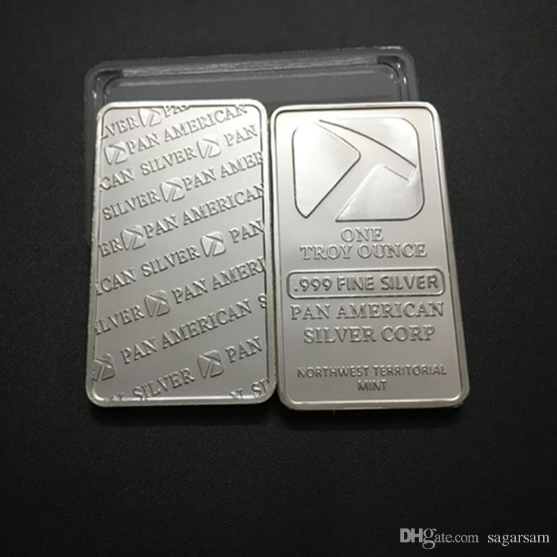 Non magnetic brand new One troy OZ Pan American Hammer fine brass core silver plated souvenir bar badge DHL coin