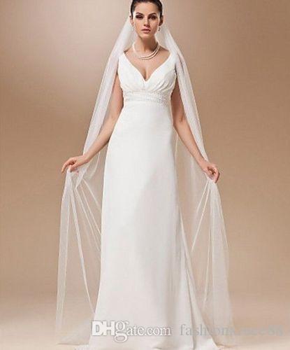 Nueva Llegada Blanco Marfil Valsa Longitud Una Capa 2 M Suave Catedral Nupcial Wedding Veil Accesorios Nupcial Con Peine
