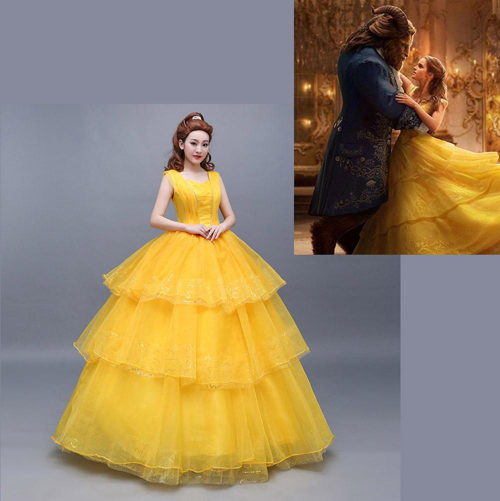 Beauty And The Beast 2017 Live Edition Princess Belle Cosplay Costume Ball Gown Yellow Dress Fancy Party Longuette Masque Skirt Scary Halloween